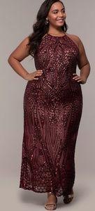Plus size burgundy sequin dress evening gown 14 24